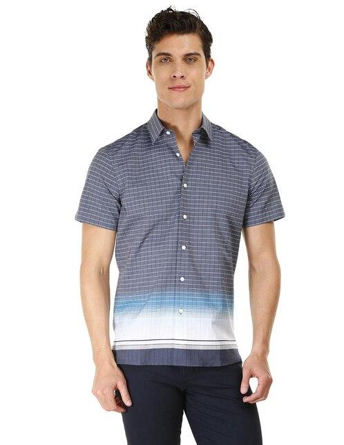 26e9673bedc55 Camisa casual a cuadros Perry Ellis corte slim fit manga corta azul marino