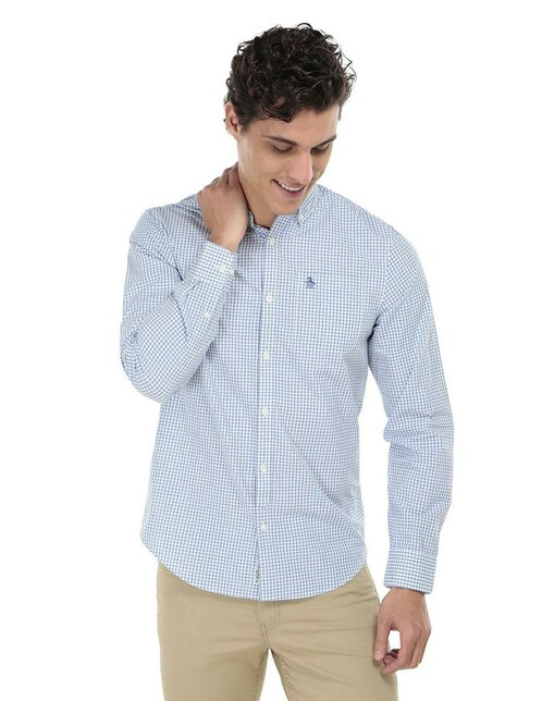 51a82e8daf Camisa casual a cuadros Original Penguin corte slim fit manga larga azul