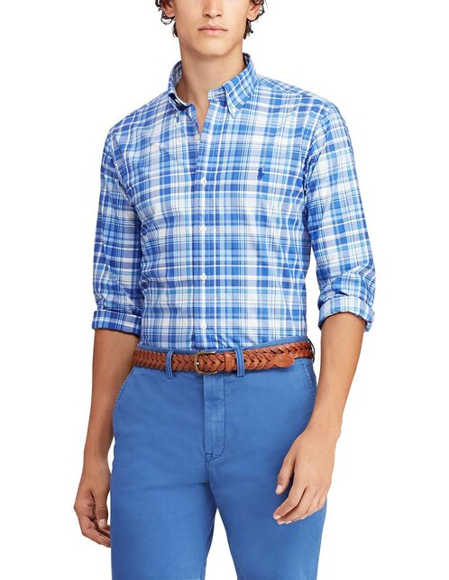 Camisa casual Polo Ralph Lauren corte regular fit azul a cuadros 455a7390952f0