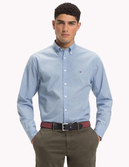 1567537db97 Camisa casual Tommy Hilfiger corte slim fit azul con diseño gráfico