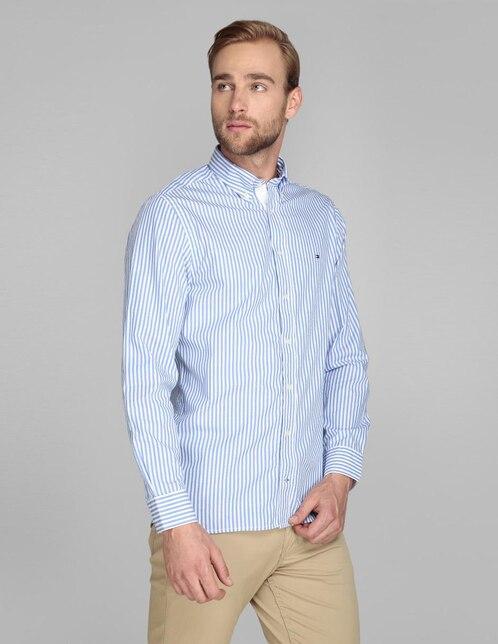 3c6620e3591 Camisa casual Tommy Hilfiger corte regular fit azul medio a rayas