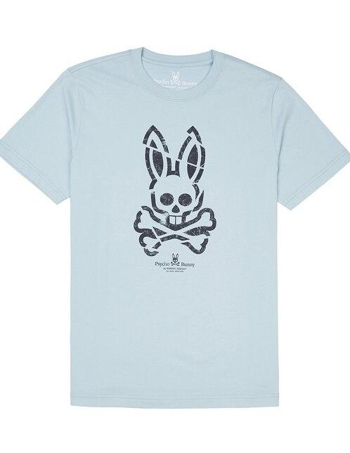 fa9e1683ac7d2 Playera Psycho Bunny corte regular fit cuello redondo azul cielo logotipo. Precio  Sugerido  ...