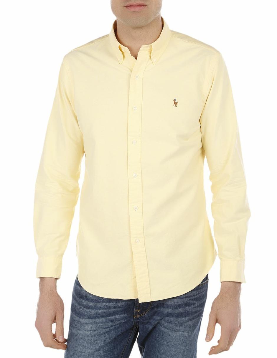 Polo Ralph Lauren Camisa Casual Corte Regular Manga Larga de Algodón  Amarilla df209a3552e02