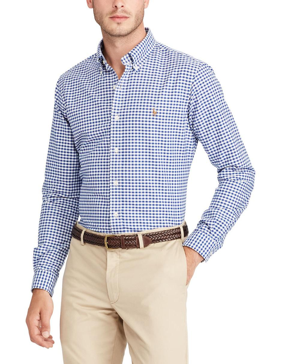 Camisa casual a cuadros Polo Ralph Lauren corte regular manga larga azul  marino 24d36305213