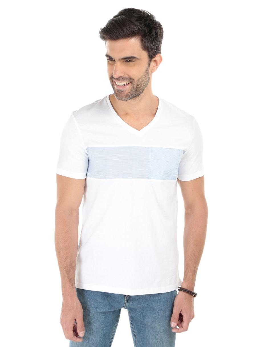 6a9c5b4046a61 Playera Calvin Klein cuello V algodón blanca