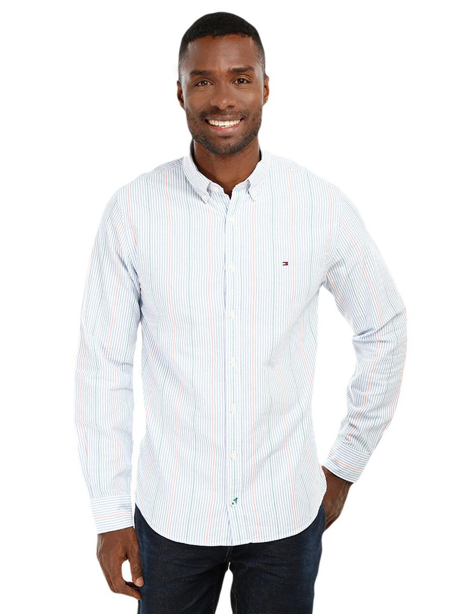 c37f434bc966b Camisa casual a rayas Tommy Hilfiger corte regular fit manga larga