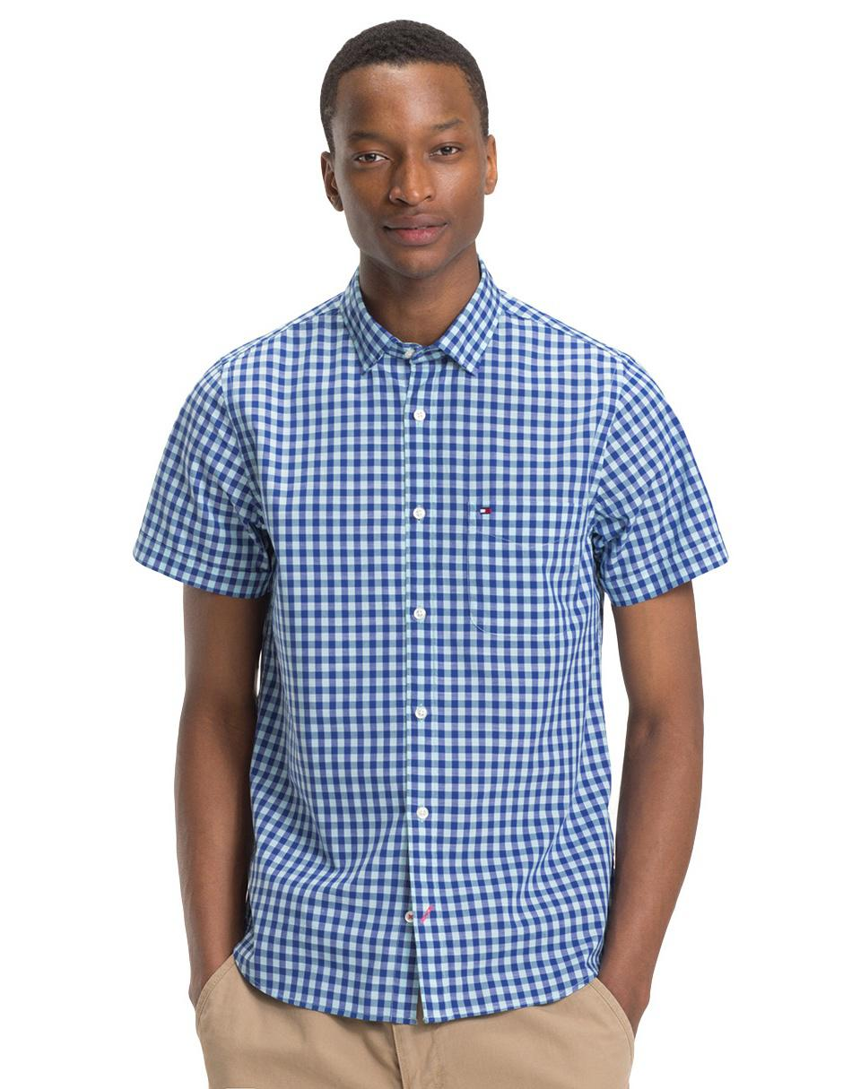 362395078a37 Camisa casual a cuadros Tommy Hilfiger corte regular fit manga corta azul