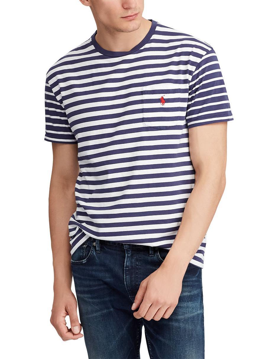 38849f3a55472 Playera a rayas Polo Ralph Lauren cuello redondo algodón azul
