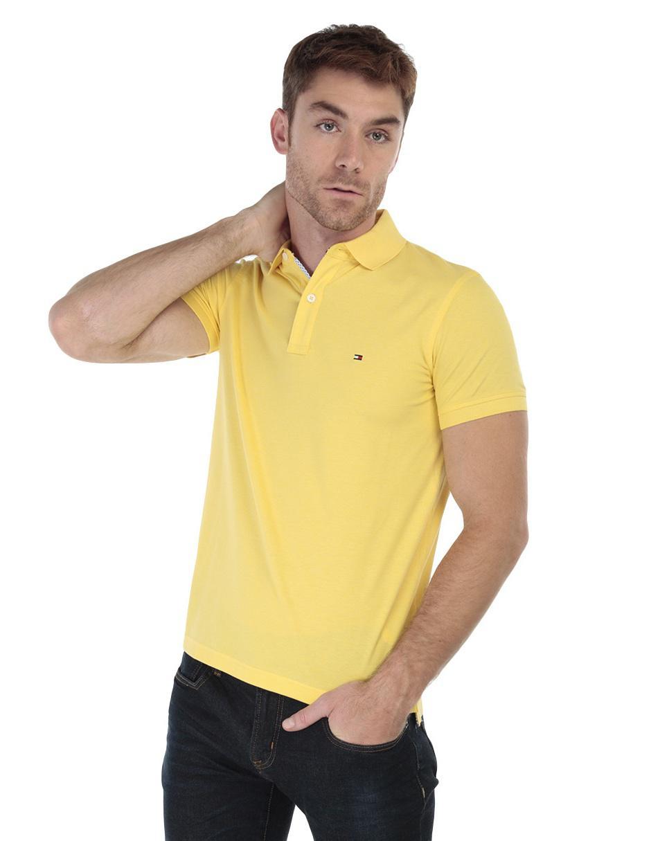 e0613a7bd14 Playera polo Tommy Hilfiger algodón amarilla