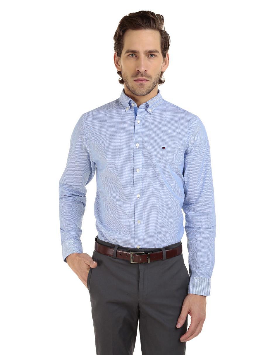 b1fecf5349ac9 Camisa casual a rayas Tommy Hilfiger corte regular fit manga larga algodón