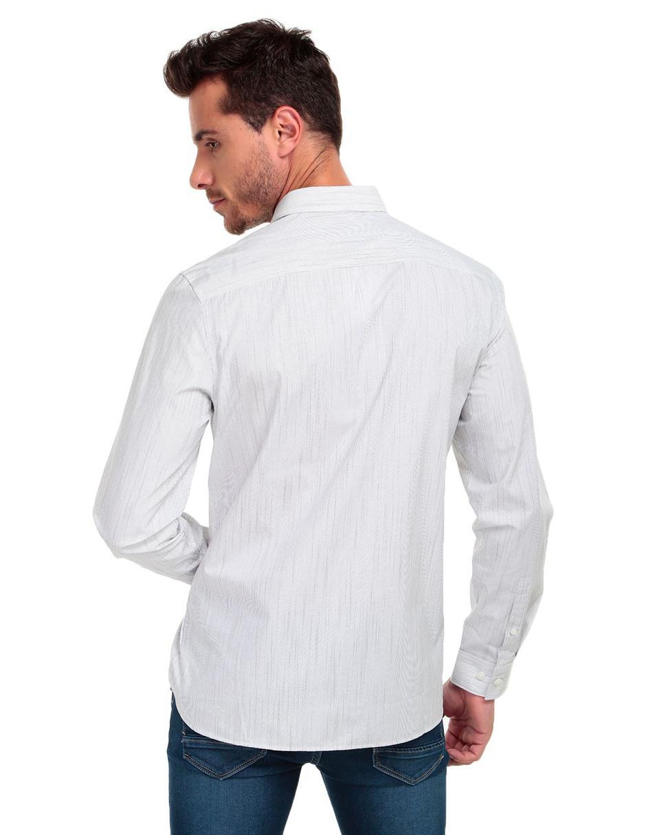 7a5333d756040 ... Regular Klein Camisa Calvin Rayas Larga Manga Corte A Gris Casual Fit  qqICY ...