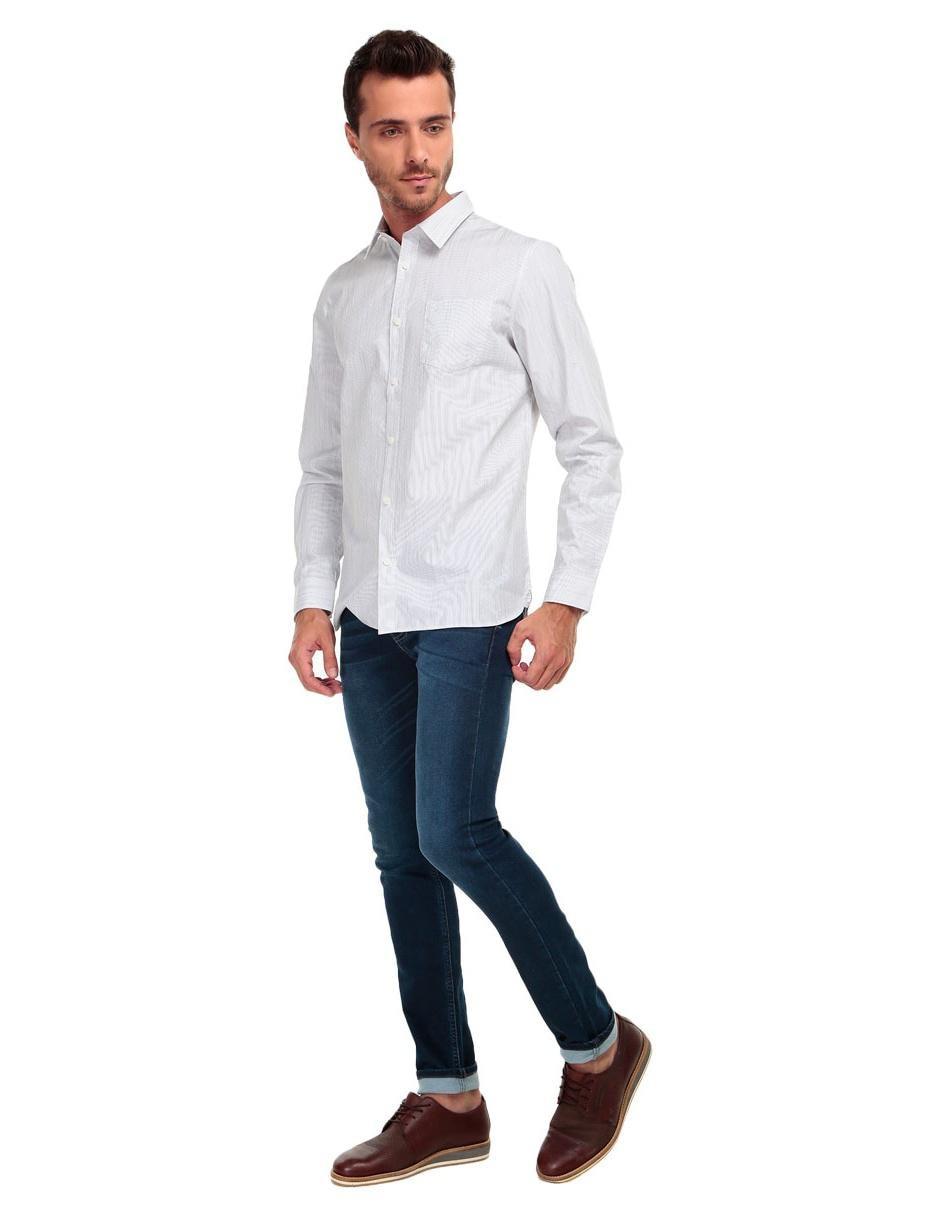 75fa88a9e7765 Regular Klein Camisa Calvin Rayas Larga Manga Corte A Gris Casual Fit qqICY  ...