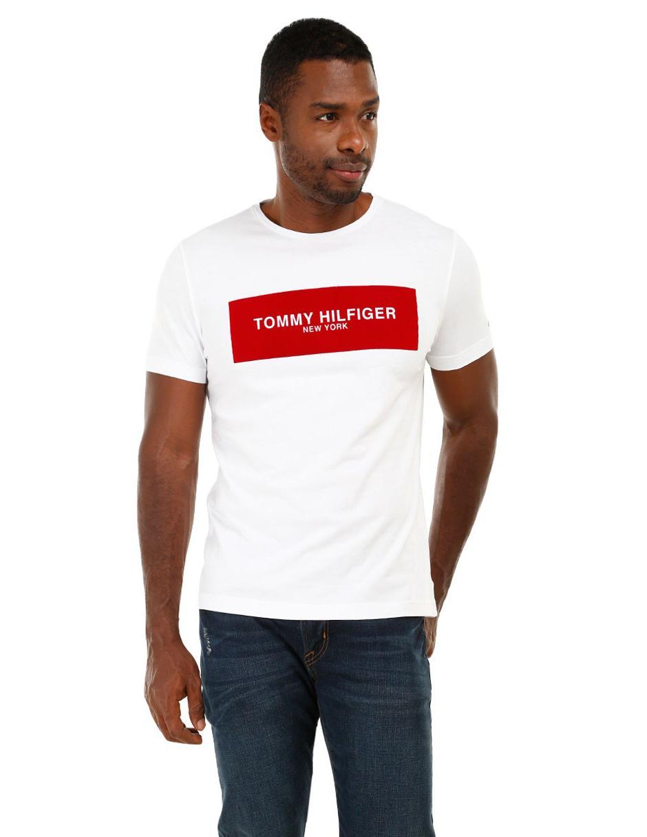 7fb2998a2c291 Playera Tommy Hilfiger cuello redondo algodón blanca