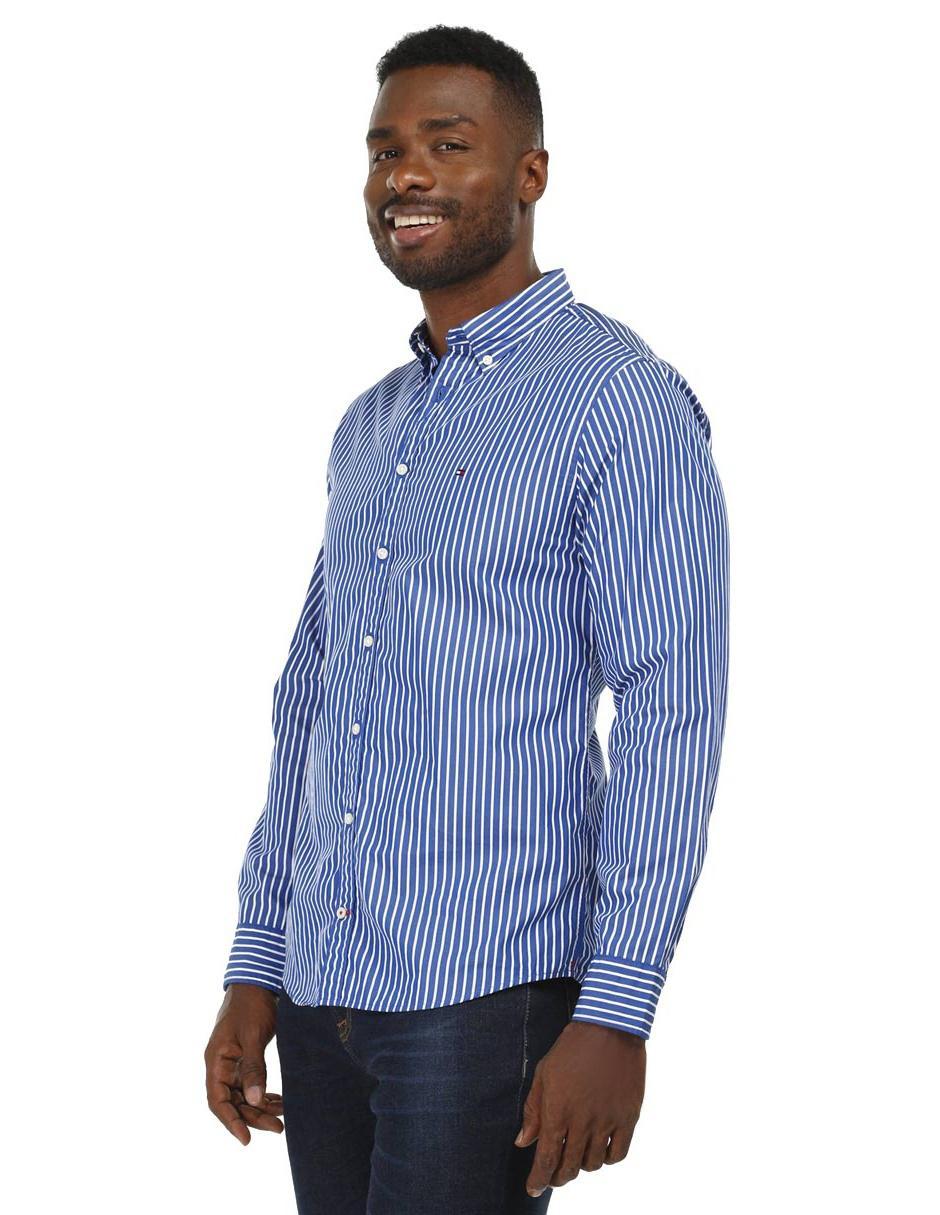ed304c89192a9 Camisa casual a rayas Tommy Hilfiger corte regular fit manga larga azul  pizarra
