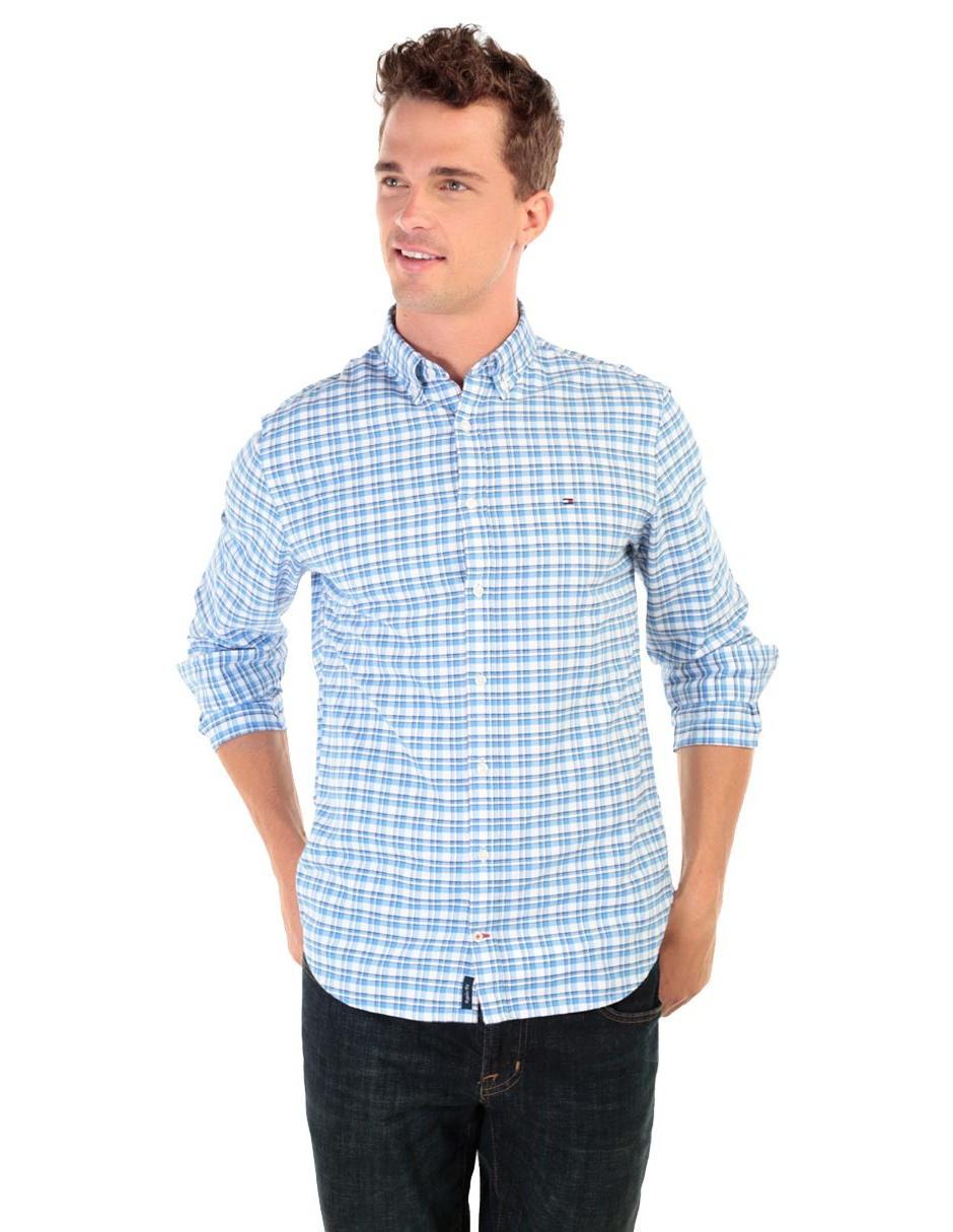 67d8720c5e8 Camisa casual a cuadros Tommy Hilfiger corte regular fit manga larga azul