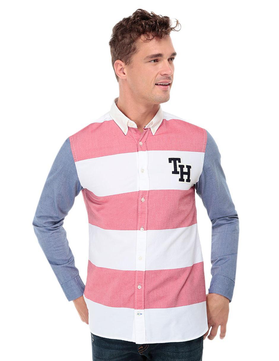 Camisa casual a rayas Tommy Hilfiger corte regular fit manga larga algodón 303c15333bce6