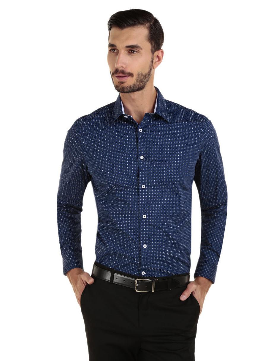 b44f16a1833db Camisa casual con diseño gráfico Perry Ellis corte slim fit manga larga azul  marino