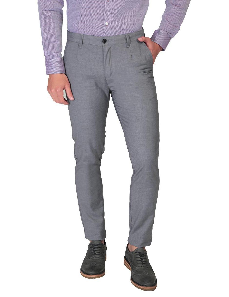 7d7519c5d402d Pantalón casual Perry Ellis corte slim fit algodón gris