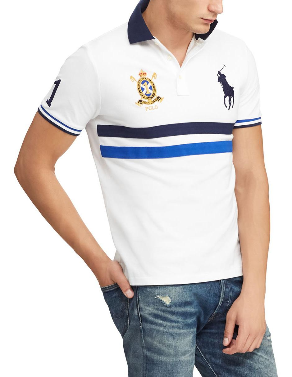 b7614402080fe Playera Polo Ralph Lauren corte slim fit blanca