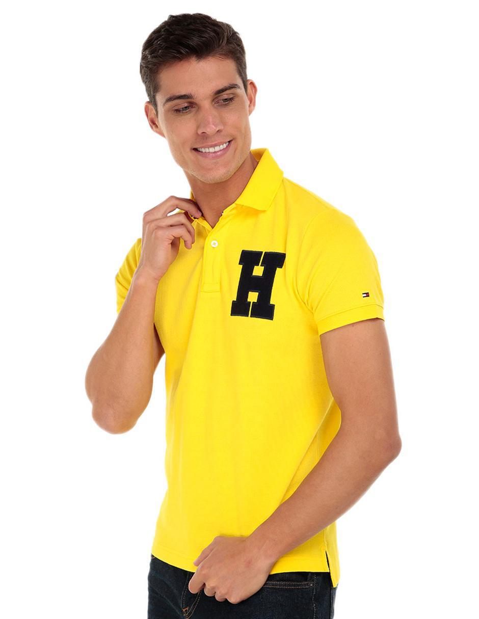Playera polo Tommy Hilfiger corte slim fit amarilla 6a66df38826de