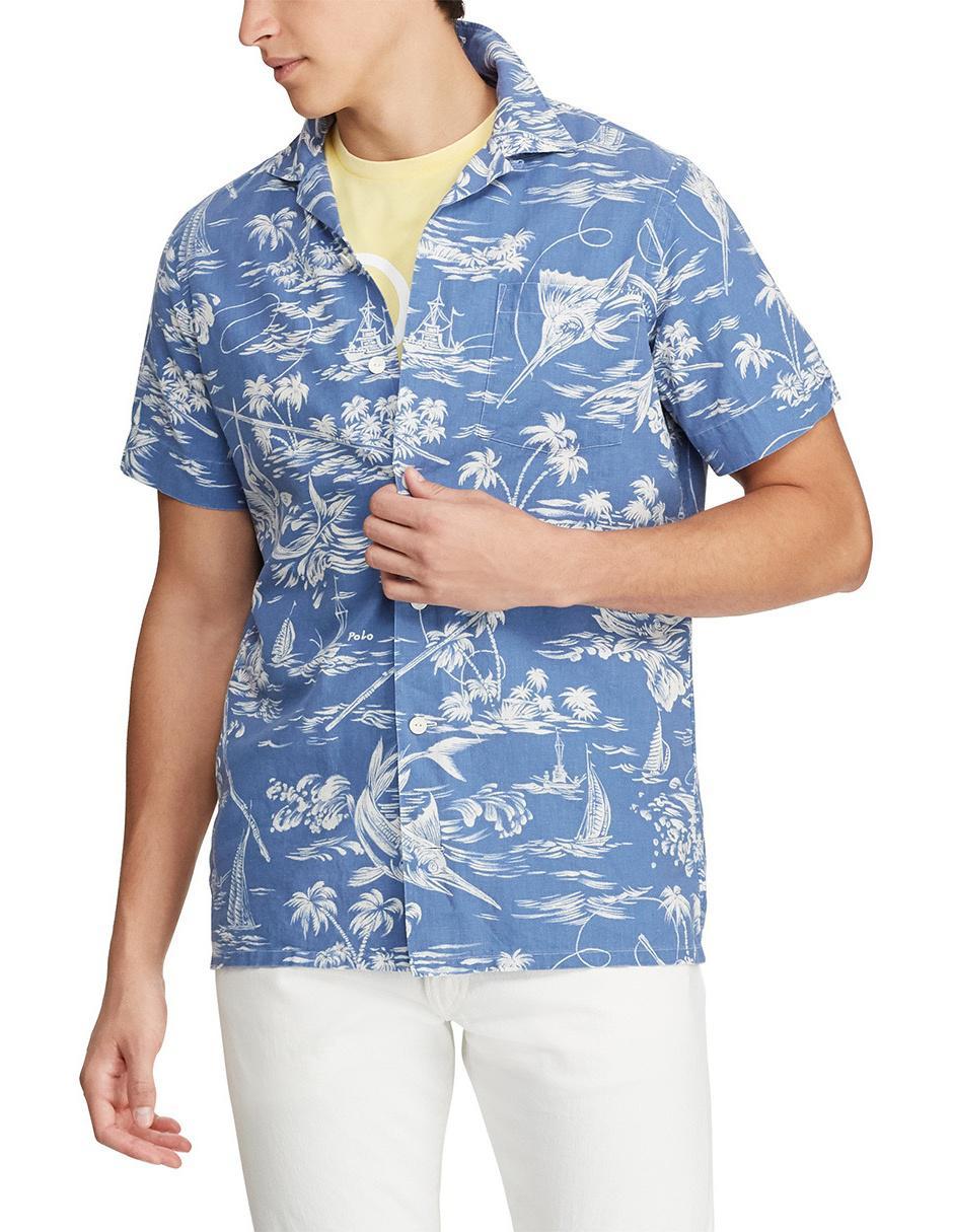 Fit Ralph Con Diseño Polo Regular Corte Casual Gráfico Azul Camisa Lauren TK3Fl1Jc